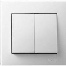 705-0202-101 Lesya Выкл.двойной белый,белой вставкой