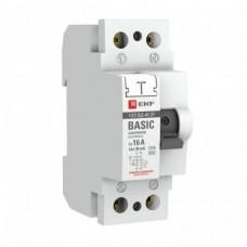 Устройство защитного отключения УЗО ВД-40 2П 16А/30мА (электронное) EKF Basic ELCB-2-16-30E-SIM
