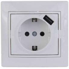 701-0202-181 Мира Розетка с USB белый с белой вставкой