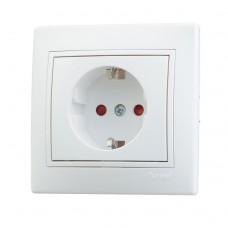 701-0202-124 Мира Розетка с защитой от детей керамика белая с белой вставкой