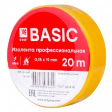 Изолента класс А  (0,13х15мм) (20м.) желтая EKF Basic