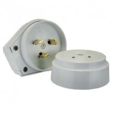 Разъем РШ-ВШ 32А 250В 2Р+РЕ (ОУ) пластиковый белый EKF PROxima AS-250-O-01