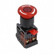 Кнопка ANE-22 поворотная с блокировкой и подсветкой NO+NC Грибок PROxima