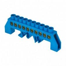 Шина 0 N (8x12мм) 10 отверстий латунь синий нейлоновый корпус комбинированный PROxima