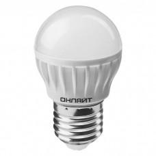 Лампа светодиодная 71 627 OLL-G45-8-230-4K-E27 8Вт шар 4000К бел. Е27 600лм 176-264В ОНЛАЙТ  71627