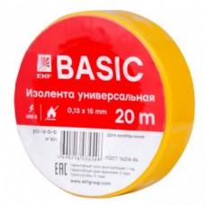 Изолента класс B (0,13х15мм) (20м.) желтая EKF Basic (plc-iz-b-y)