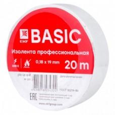 Изолента класс А (профессиональная) (0,18х19мм) (20м.) белая EKF PROxima