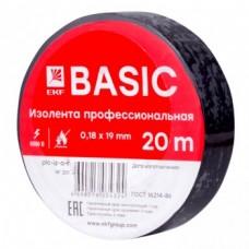 Изолента класс А (профессиональная) (0,18х19мм) (20м.) черная EKF Basic (plc-iz-a-b)