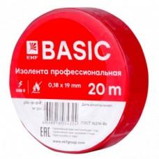 Изолента класс А (профессиональная) (0,18х19мм) (20м.) красная EKF PROxima