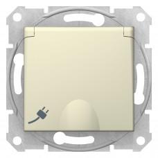 Розетка  с/з со шторками с крышкой бежевая Sedna SDN3100147