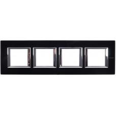 Axolute Рамка 2х4мод.  прямоугол. горизонт. 71мм черн. стекло HA4802M4HVNN