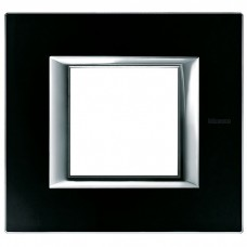 Axolute Рамка 2мод.  прямоугол. черн. стекло  HA4802VNN