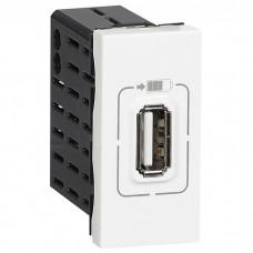 Mosaic USB Розетка для зарядки одинарная, цвет белый (077591)