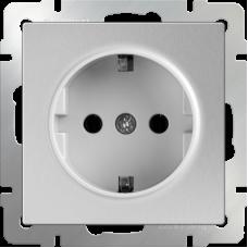Розетка с заземлением /WL06-SKG-01-IP20 (серебряный) Ем000006963