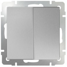 Выключатель двухклавишный WL06-SW-2G (серебряный) Ем000006967