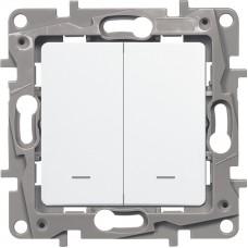 Etika Выкл 2 клав c подсв, Винт 10АХ белый  672204