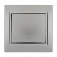 701-1010-100 Мира Выключатель металл серый со вставкой