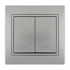 701-1010-101 Мира Выключатель двойной металл серый со вставкой