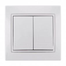 701-0202-101 Мира Выкл двойной белый,белой вставкой